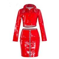 Fashion Red Club Two Piece Set Women 2017 Autumn Winter PU Leather Party Fashion Sets Crop