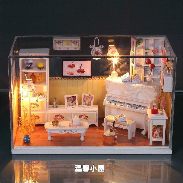 Bricolage à la main assemblé jouet chauffant coeur mini maison modèle transparent cadeau de noël cadeau d'anniversaire