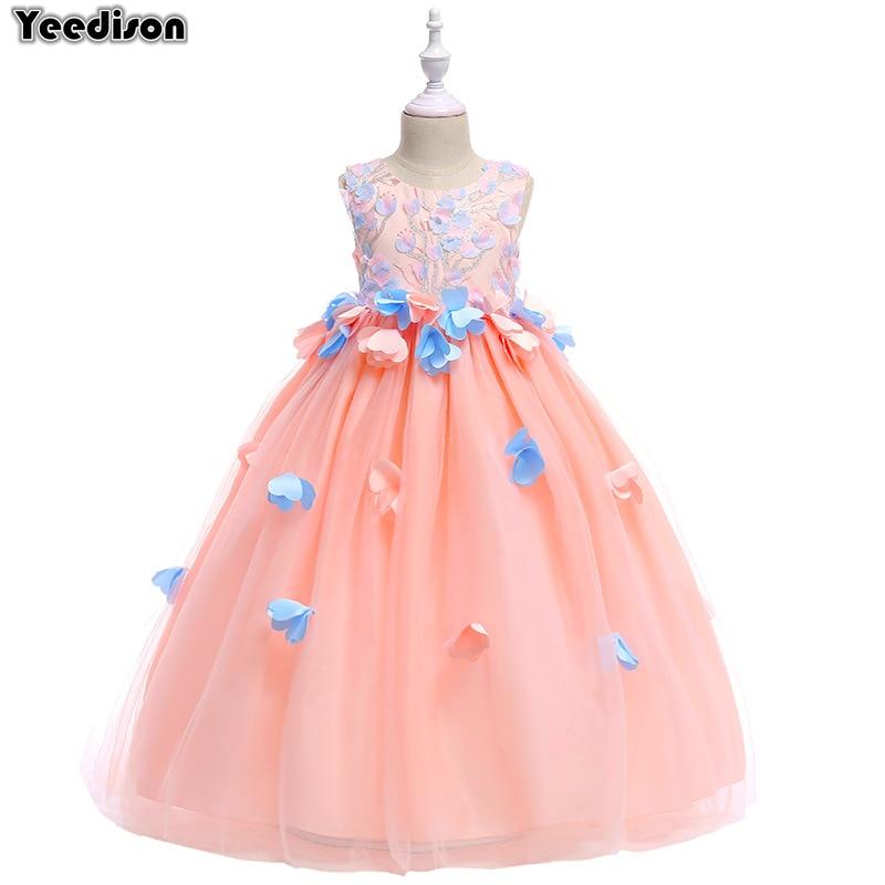 Flower Girl Princess Dress 2018 New Cute Party Kids Dresses For Girls Wedding Gown Long Children Dresses Prom Teen Girls Costume