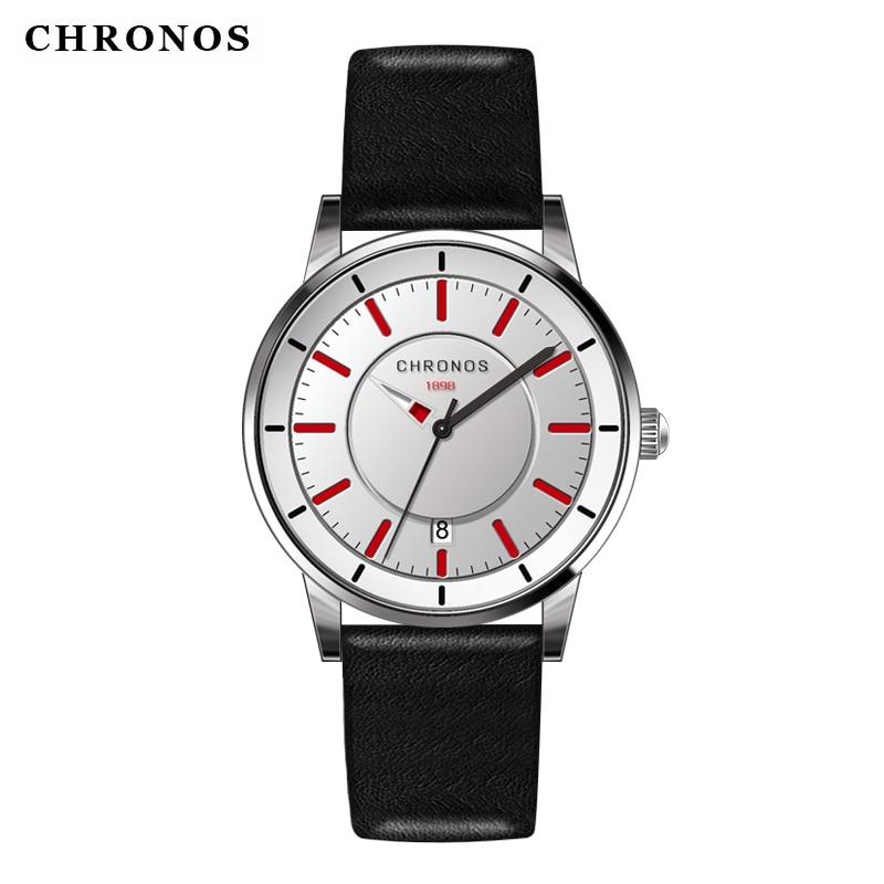 Reloj de los hombres de cuero genuino impermeable reloj de pulsera de - Relojes para hombres - foto 1