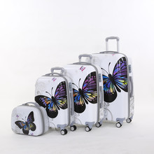 Wholesale!14 20 24 28inches(4pieces/set) feminine laptop butterfly hardside trolley baggage set on common wheels,cartoon journey bag