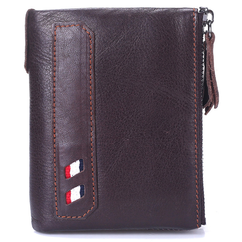 Men Wallet Cowhide Genuine Leather Purse Money Coin Holder Card Double Zip Dollar Price High Quality 2017 Short Male Wallets