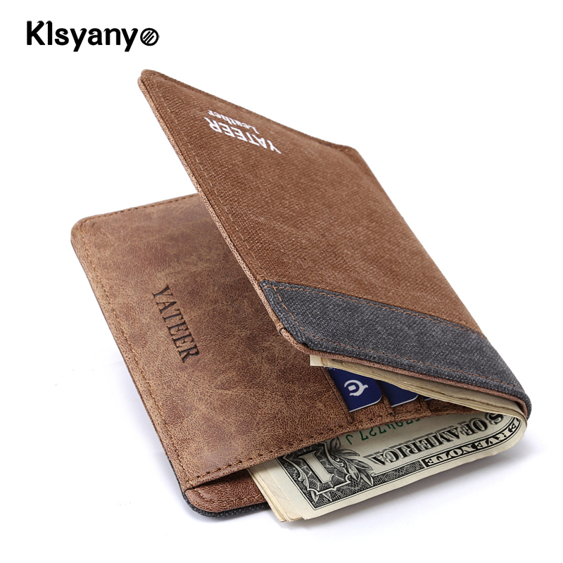 Klsyanyo Vintage Jeans Canvas Man/Women Wallet Purses neutral Money Bags Wallet Carteira Slim Small Card Purse