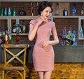 clearance sale Women Cheongsam Lattices Chinese dress chi-pao Party Dresses Mini Evening Dress vestidos Size:S M L XL XXL
