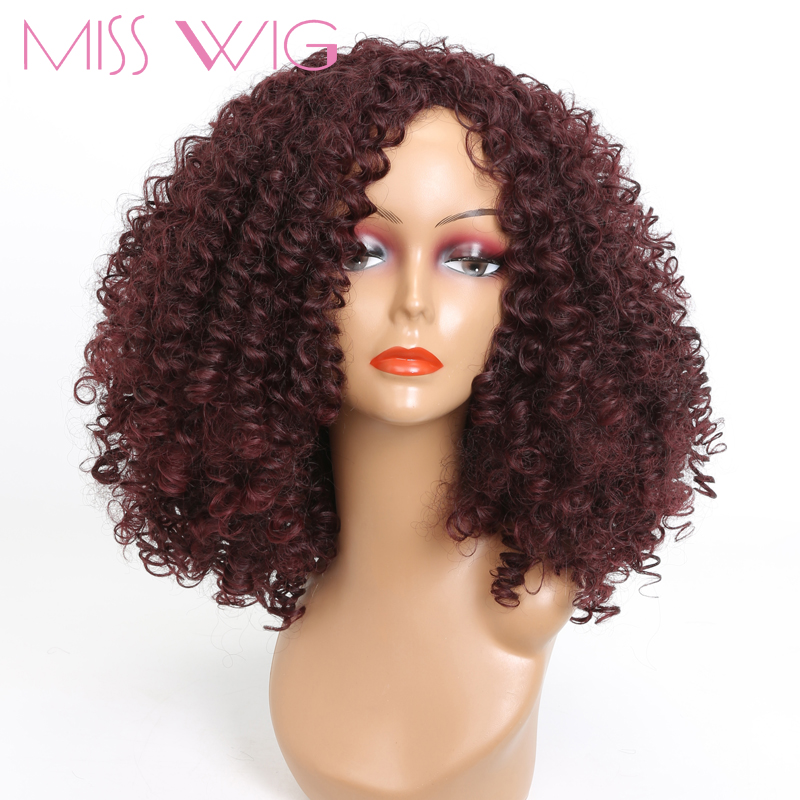 MISS WIG Long Red Black Afro Wig Kinky Curly Wigs For Black Women Blonde Mixed Brown 250g Synthetic Wigs High Temperature Fiber