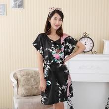 Summer Sexy Black Women Faux Silk Robe Lady Plus Size Bathrobe Chinese Style Sleepshirt Nightdress Print Flower Lingerie A158