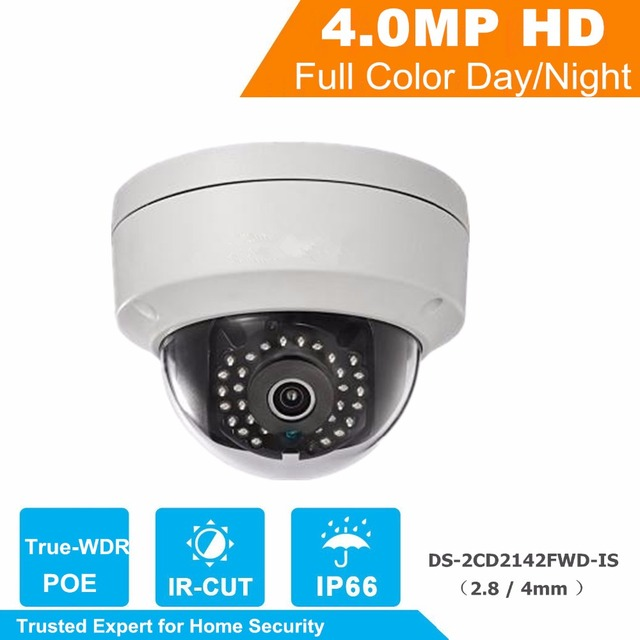 New English Version IP Camera 4MP Firmware V5.3.3 Multi Language Mini Dome Camera POE IP CCTV Camera DS-2CD2142FWD-IS