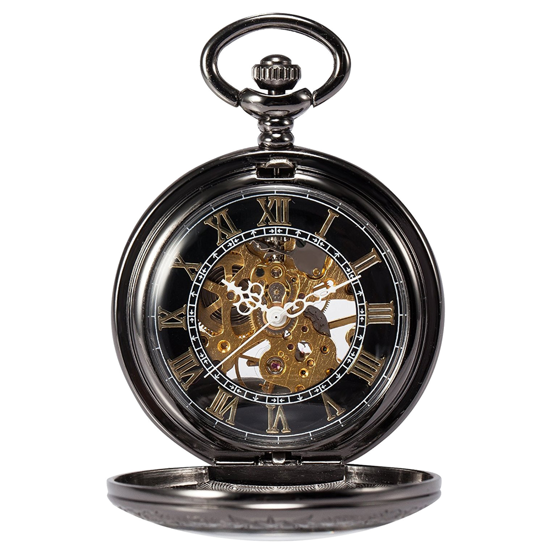 Practical Man Black Steampunk Skeleton Copper Pocket Watch