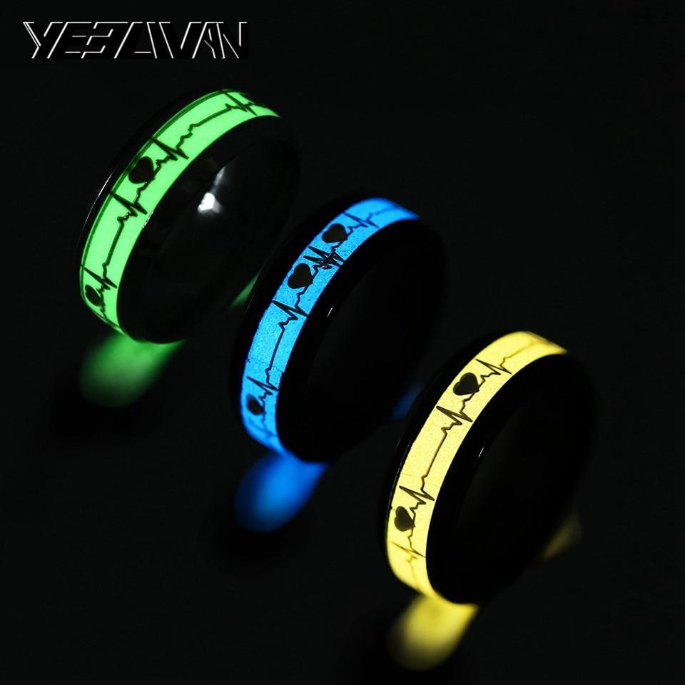 Зеленый синий желтый светятся в темноте сердечного ритма электрокардиограмма Мужские кольца Нержавеющаясталь волны пара женский мужской...