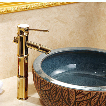 Free shipping Bamboo gold basin sink faucet of solid brass bathroom golden faucet from china hot cold basin sink water faucet
