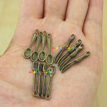 Mini Tableware Knife Fork Spoon Dining Bronze Antique Brass 1:12 Dollhouse 12pcs