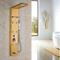 Luxury Gold Finish Shower Panel W Storage Shelf Wall Mount Bath Rainfall Shower