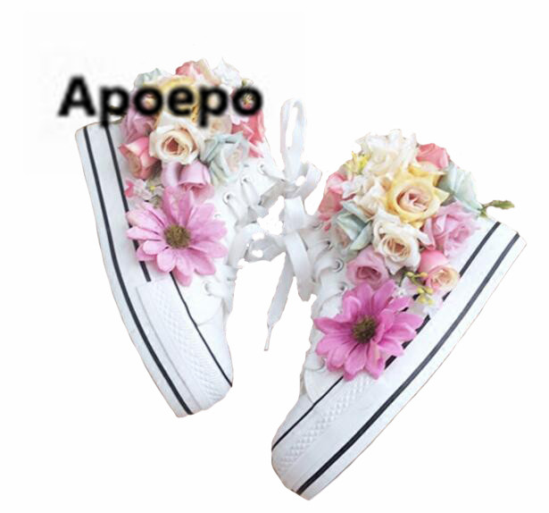 Apopeo rubber boots for women lace up round toe white flats platform shoes flower Casual sneakers shoes Handmade ankle boots shoes sneakers 2017 flat women fall wedge front lace up casual ankle boots autumn round toe white big brand genuine leather