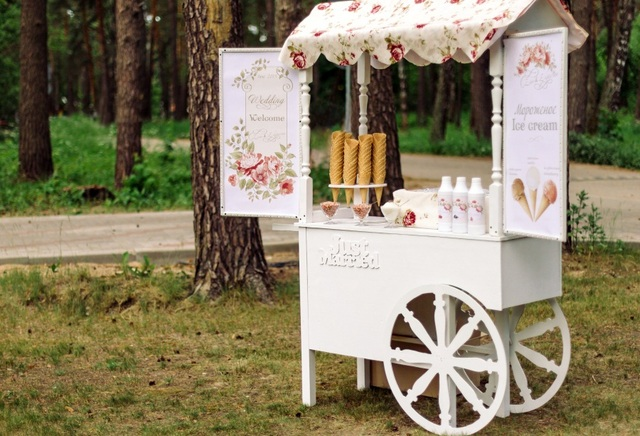 Laeacco Park Trees Ice Cream Cart Scene Wedding Photography Backgrounds Customized Photographic Backdrops For Photo Studio