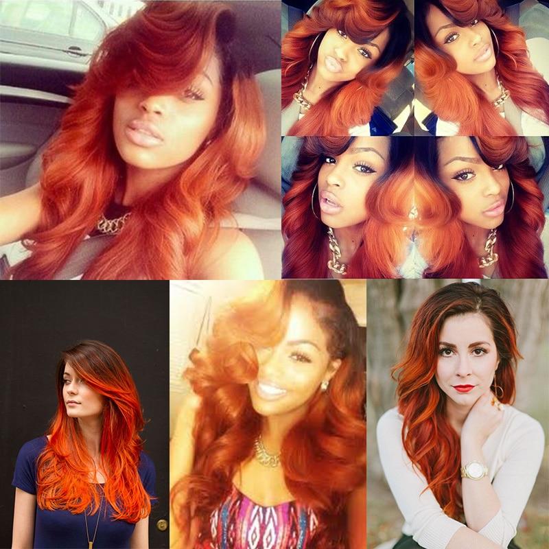 Ombre Brazilian Hair 1b 350 Weave Bundles Virgin Body Wave 3 Dark Orange Color Human On Aliexpress Alibaba