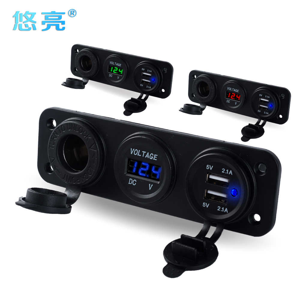 Refit 12V Car Phone Battery Charger Quick 2 Port USB Car Charger With Voltmeter LED Display 12 Volt Cigarette Lighter Adapters