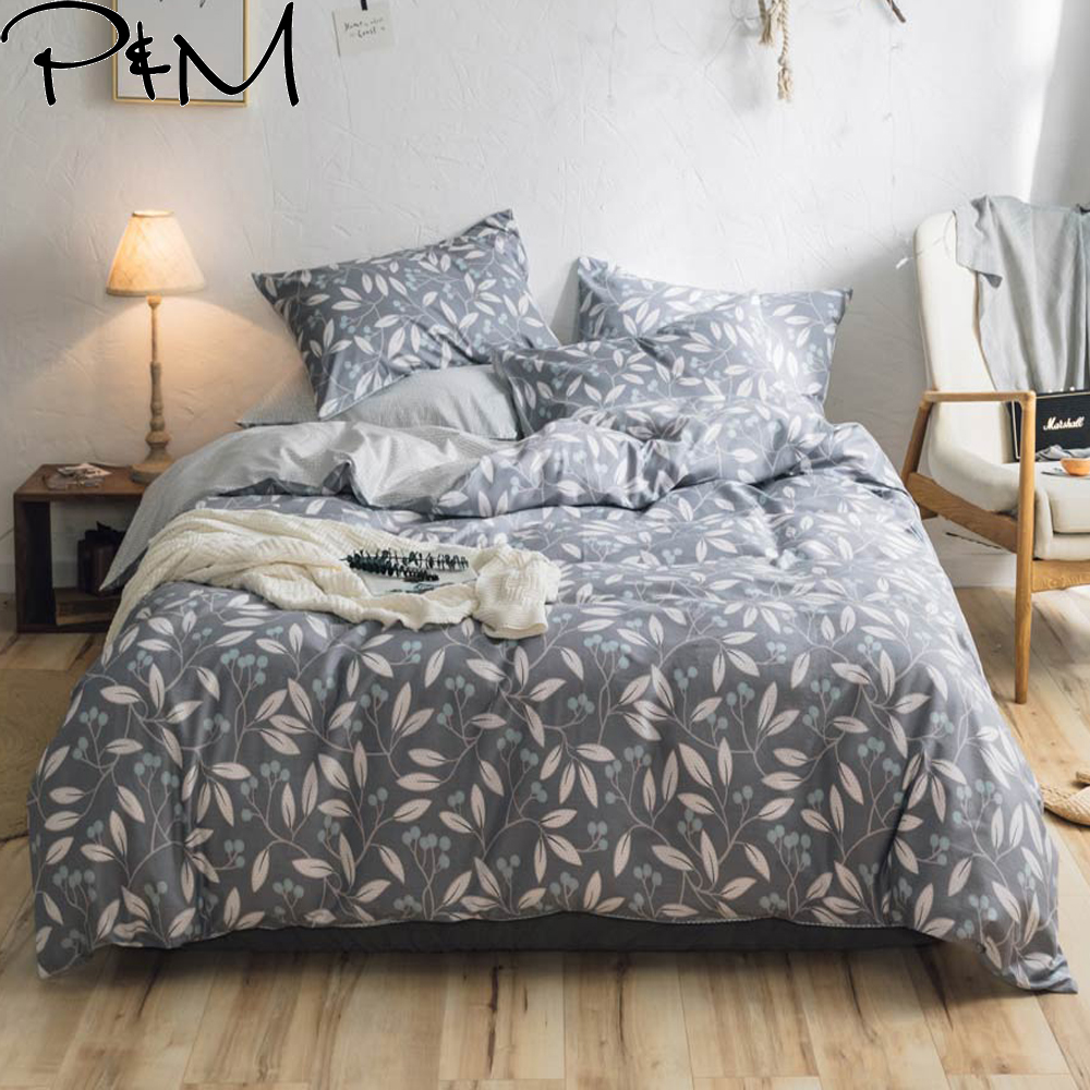 PAPA&MIMA Leaves kids Cartoon Pattern Gray bedding sets Cotton Twin Double Queen size duvet cover bedsheet pillowcasesPAPA&MIMA Leaves kids Cartoon Pattern Gray bedding sets Cotton Twin Double Queen size duvet cover bedsheet pillowcases
