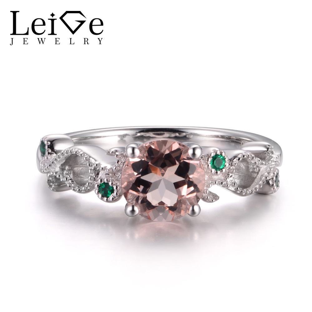 LeiGe Jewelry Round Shape Natural Morganite Rings Anniversary Rings Pink Gems Genuine 925 Sterling Silver Wedding Gifts For Her