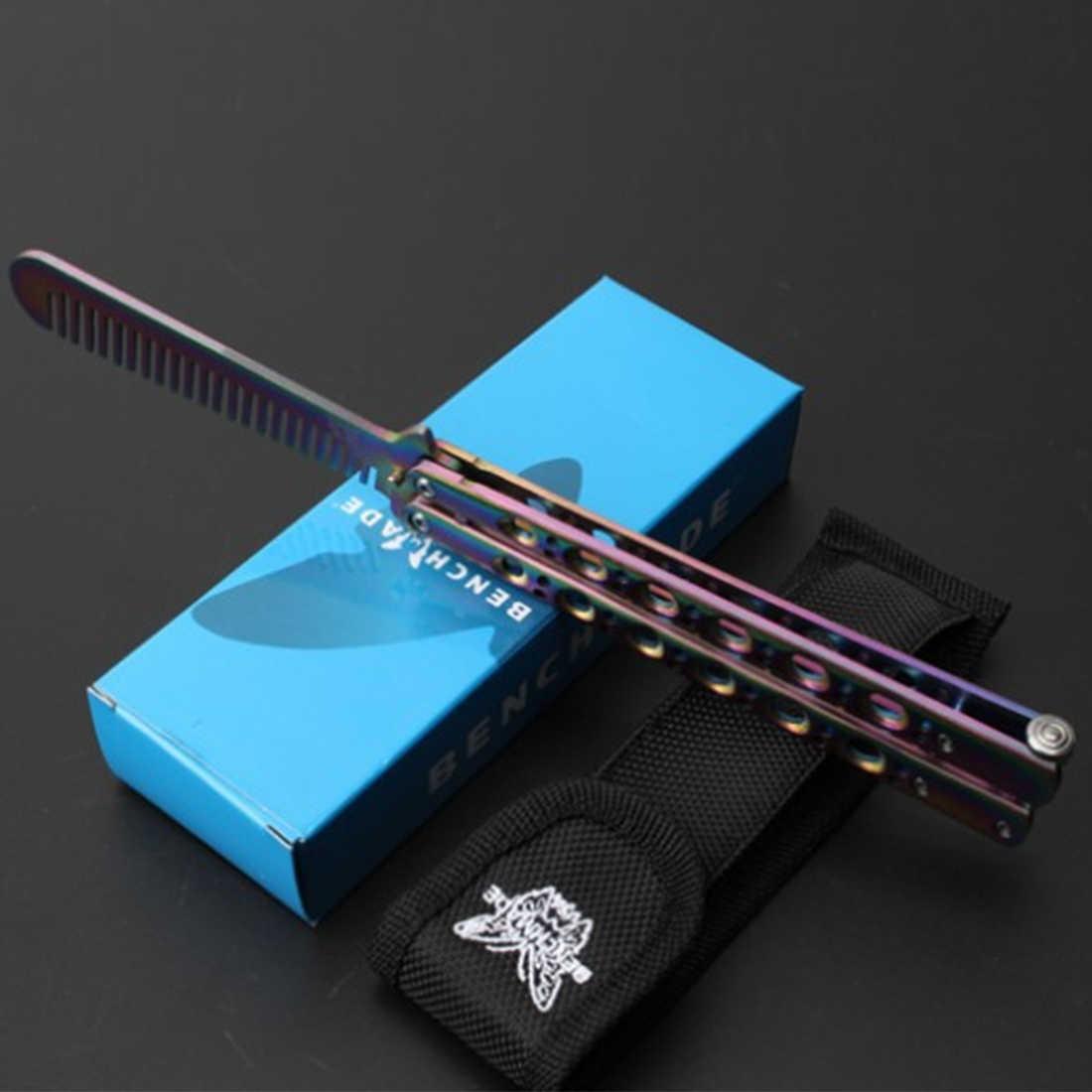 فراشة في سكين 23 سنتيمتر التدريب سكين للفرد أداة مملة التيتانيوم المغلفة الفولاذ المقاوم للصدأ فراشة سكين للفرد ليست حادة