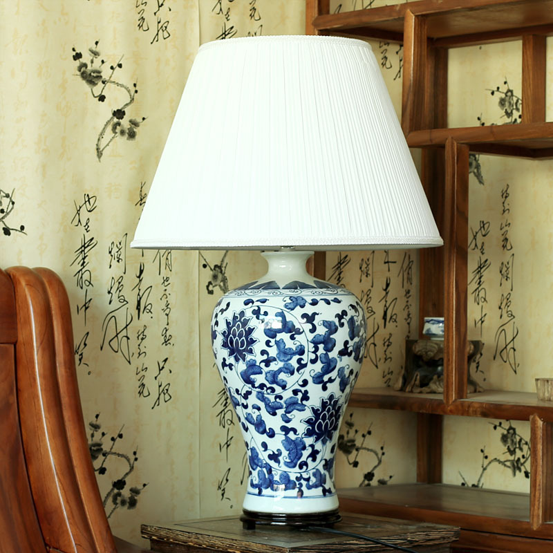 Vintage chinese bedroom living room wedding table lamp ...