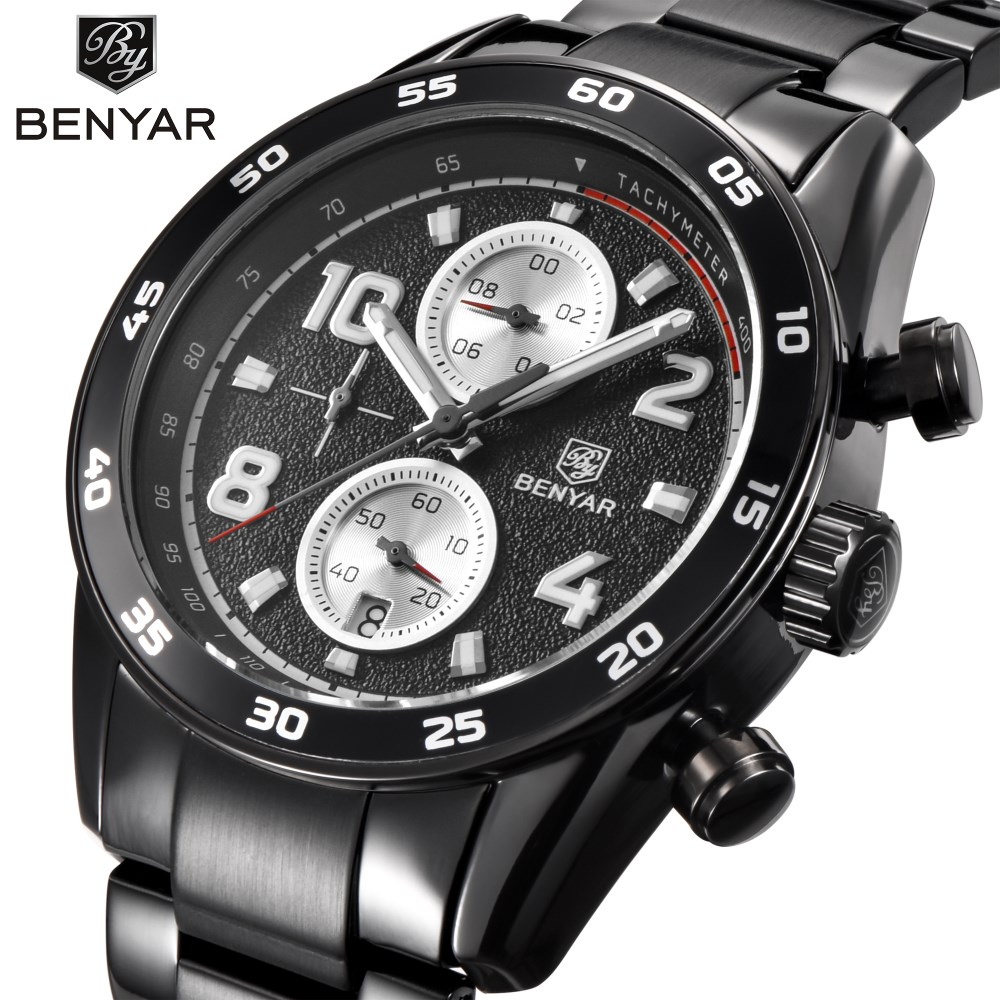 BENYAR Mens Watches Top Brand Luxury Fashion Business Quartz Watch Men Sport Full Steel Waterproof Black Clock Relogio Masculino lige mens watches top brand luxury man fashion business quartz watch men sport full steel waterproof clock erkek kol saati box