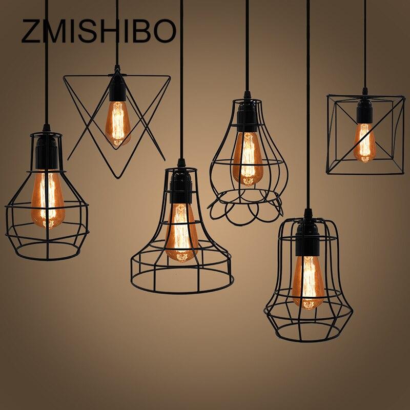 ZMISHIBO Fer Cage Suspendus Pendentif Lumières 110 v-220 v E27 Noir Peint 8 Type Nordique Vintage Lampe Pour salle à manger Luminaires