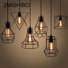 ZMISHIBO железной клетке висит подвесные светильники 110 В-220 В E27 черный цвет 8 Тип Nordic Винтаж лампы для обеденная светильники