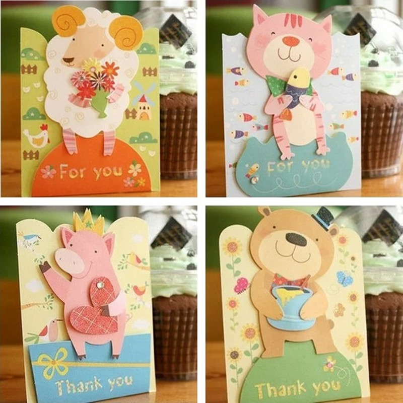 6pcs/pack 7.5x10cm DIY Cartoon animals Postcard Greeting Cards with envelops Wishes Cards Kids Gift DIY Craft Cards global elementary coursebook with eworkbook pack