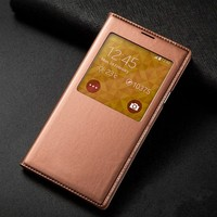Smart Touch View Flip Cover Auto Sleep Wake UP Leather Case With Original Chip For Samsung