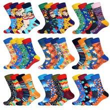LIONZONE 4Pairs/Lot Character Face Geometric Floral Pattern Streamline Design Tide Socks Gift for Men Brand Custom