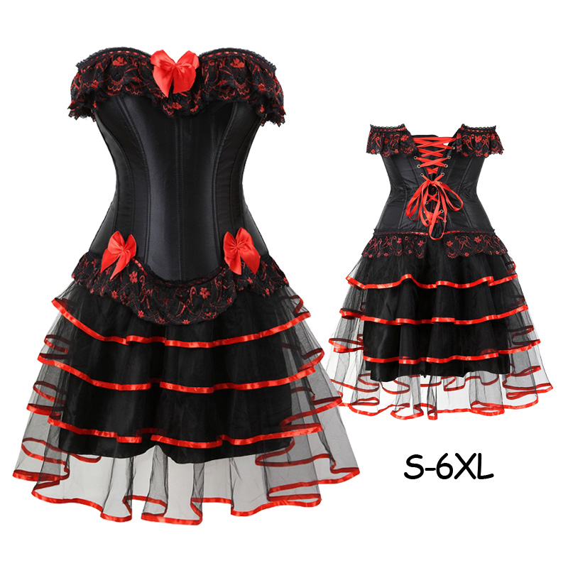 Women Sexy Bow Party Burlesque Dancer Plus Size   Bustier     Corset   Dress Witch Halloween Corselet Mini skirt Gothic With Skirts
