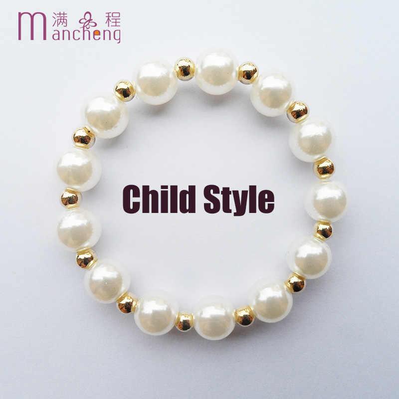 Dobrej jakości złoty kolor 8MM perły koraliki dzieci bransoletki dla dzieci biżuteria dziewczęca szczęście sztuczna perła bransoletka dla dzieci chłopców