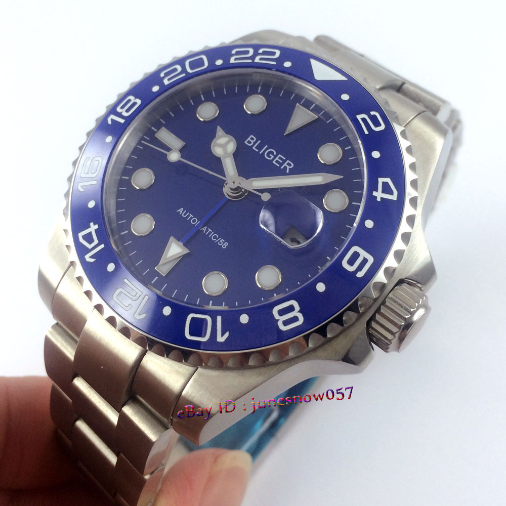 Bliger 43mm blue dial date blue luminous Ceramic Bezel sapphire glass Automatic movement Men's watch P112 цена и фото