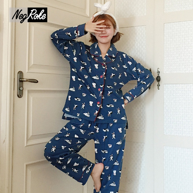 New Korea 100% cotton Spring blue womens pajamas sets simple long-sleeved cartoon dog casual women nightwear sleepwear for women