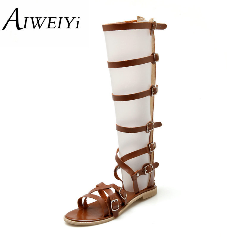 AIWEIYi Women Sandals Summer Flats Sexy Knee High Boots Gladiator Sandals Women Casual Flats Shoes Designer Big Size 34-43  handmade high quality 2017 summer new knee high boots gladiator women sandals boot real leather flats casual shoes black size 41
