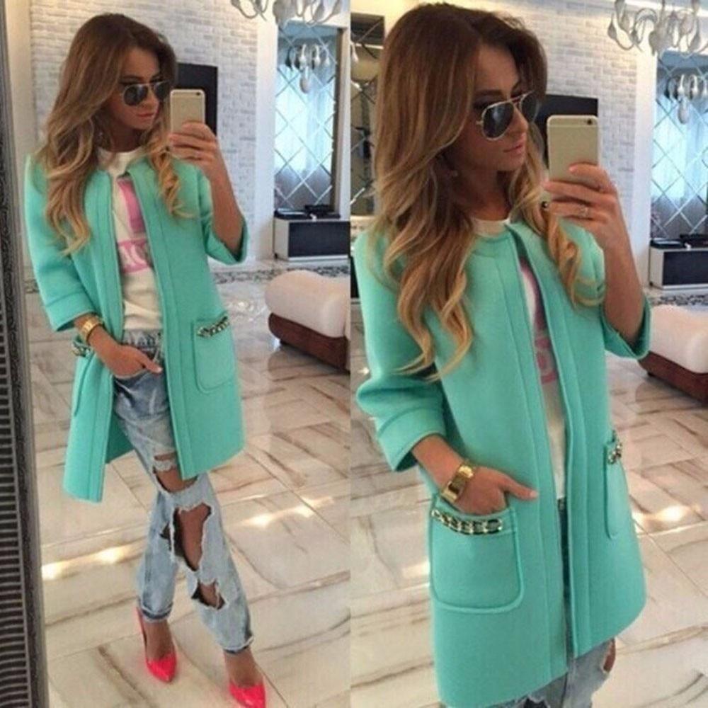 Feida Abrigos y Chaquetas Women Winter Pocket Jacket Mint Green Outwear Parka Cardigan Long Coats Overcoat Chaquetas Mujer Feida