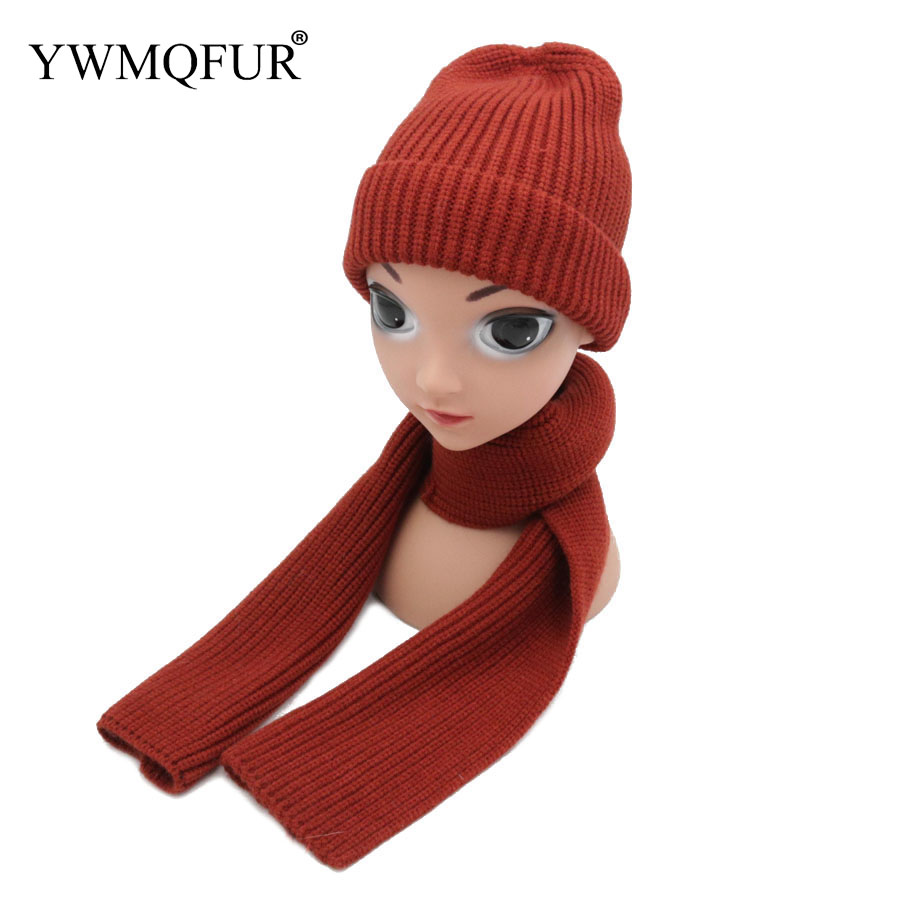 2018 Autumn & Winter Warm Hat Scarf Sets For Kids Knitted Cotton Solid Color Children Cute Caps & Scarves Free Shipping YWMQFUR