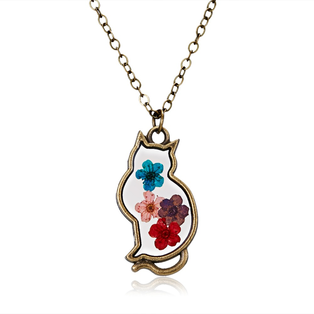 Bronze Cat Natural Real Dried Flowers Necklace Pendant