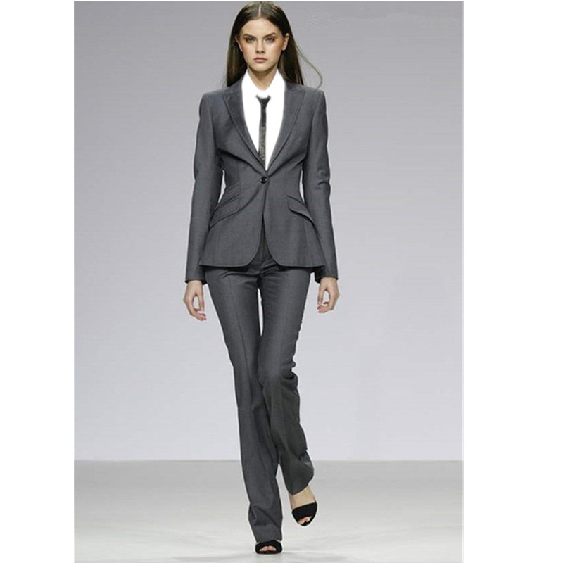 Custom Gray Womens Formal Uniform Uniform Slim 2 Piece Suits Business Women Professional Pants Sets Office Suits