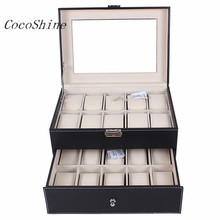 Free shipping & Wholesale! High Quality T-172 20 Slot Watch Box Leather Display Case Organizer Top Glass Jewelry Storage Black