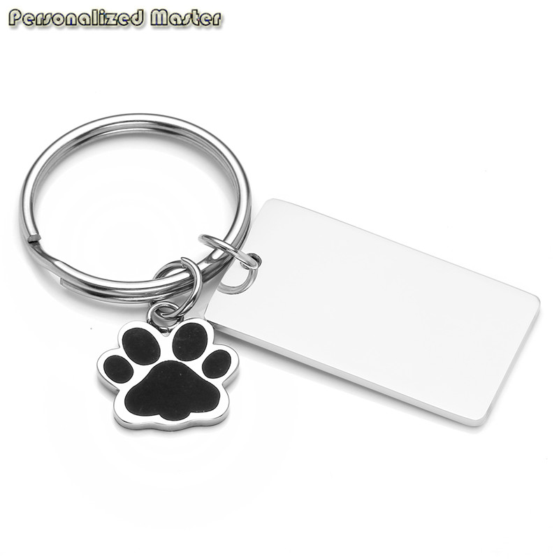 Personalized Master Free engrave Custom Stainless Steel Keychain Cute Pet Claw Rectangular Tag Pendant Personalized Key Ring