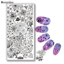 Шаблоны для стемпинга ногтей с изображением цветов и листьев