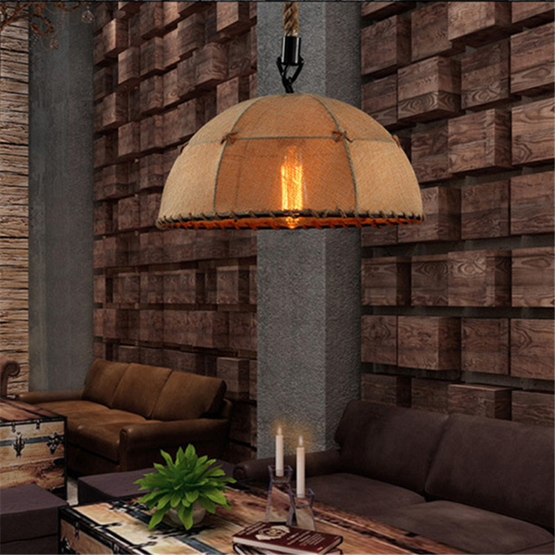 Rural Style Creative Hemp Pendant Lid Lamp Bar Cafe Restaurant Loft Lighting Decorative Hand-Woven Knitd Hemp Rope Chandelier rural pastoral creative restaurant cafe personality wrought iron rope chandelier lamp internet cafe bar loft hemp rope lamp