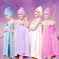 Serviettes De bain douche femmes 145x75 cm bain magique microfibre plaine Serviette jupe sèche cheveux casquette Toalla Serviette De Plage
