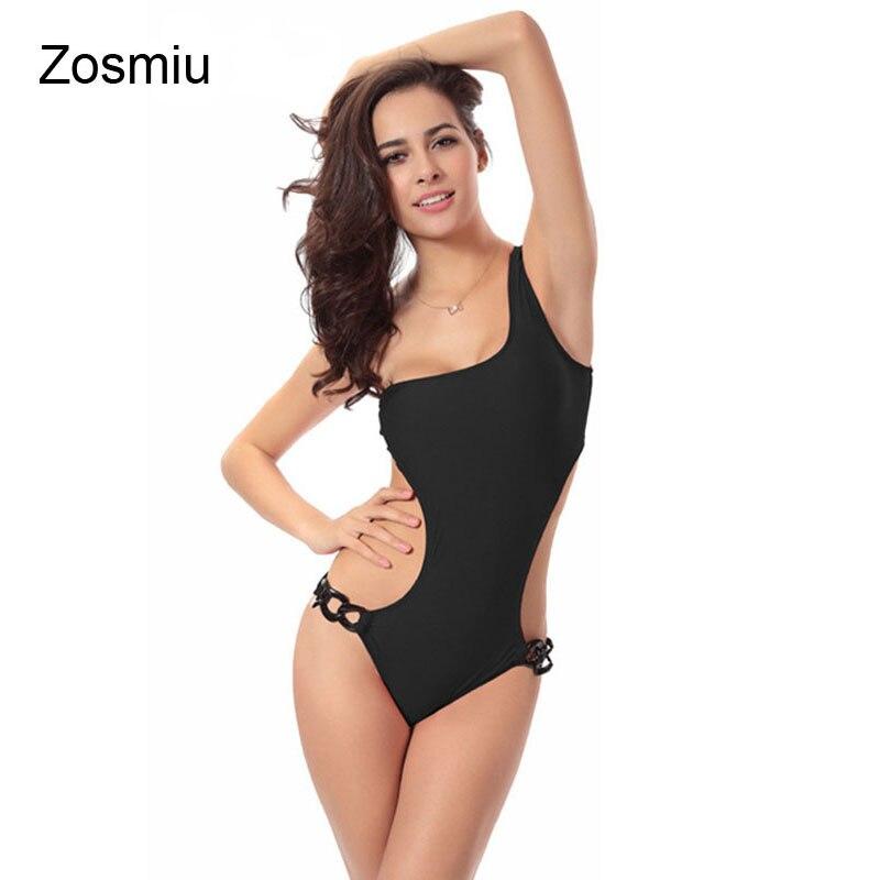 Zosmiu New Sexy Women One Piece Swimwear Bathing Suit Hot One shoulder Swimsuit Sexy Beach Swiming Hollow Out Monikinis Vestidos
