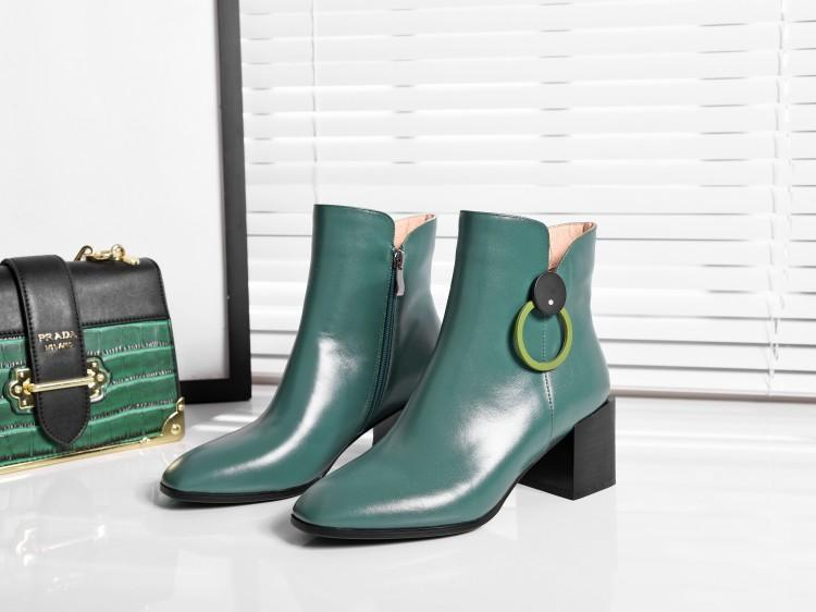 Pour Chic Bottes Talon Métal Femmes Chunky Noir Dames Cheville vert Zapatos Carré Noir Véritable Haute Vert Cuir Mode Bout Chaussons Anneau En Mujer SzqMLUVpG