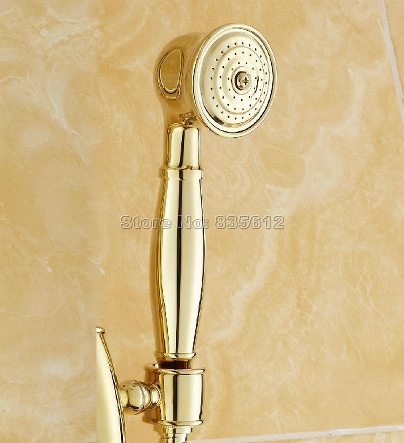 Polished Gold Color Brass Telephone Style Hand Held Bathroom Shower Head / Bathroom Handheld Shower Head Accessory Whh013
