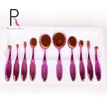 Princess Rose 10pcs Toothbrush Oval Makeup Brush Set Make Up Brushes Pincel Maquiagem Kit Pinceis Brochas