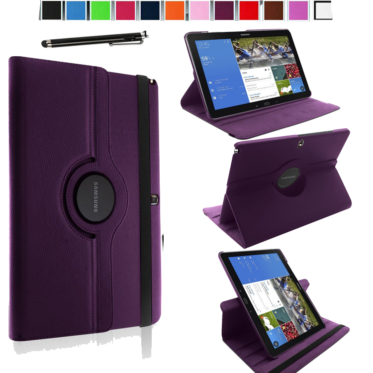Magnetic 360 Rotating Smart Stand Cover Case for Samsung Galaxy Tab Pro / Note Pro 12.2 SM-P905/ P900 W/ Film & Stylus (Purple)