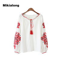Mikialong Vintage Ethnic Style Long Sleeve Shirt Women Tassel Lace Up Collar Flower Embroidery Plus Size